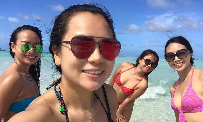 Chinese Girls in Shallow Water
